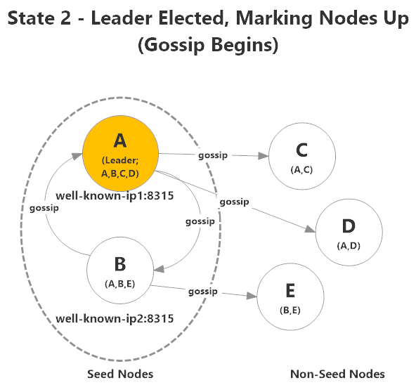 Akka.Cluster elects a leader, who begins making decisions about which nodes are up